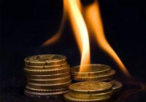 Сжечь подклад на монете